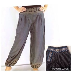 Gray embellished boho pants